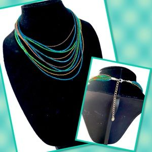 Blue, Green, and Brown 18 Inch Necklace